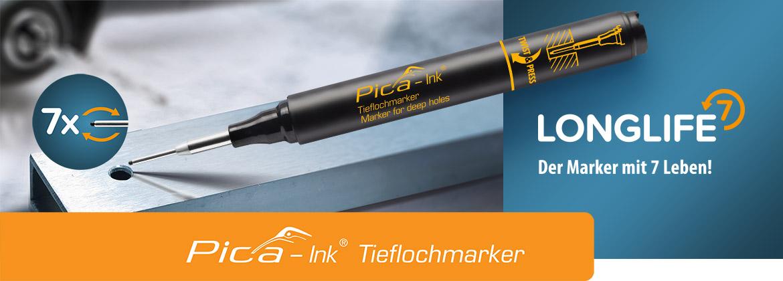 Tieflochmarker Pica-Ink schwarz m.Teleskopspitze PICA